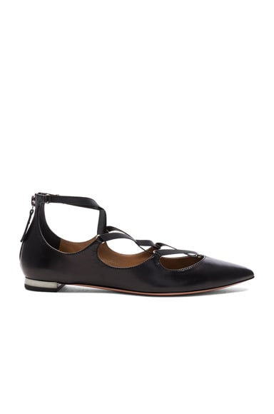 Aquazzura Leather Mischa Flats in Black