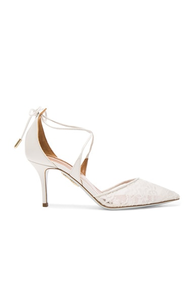 Aquazzura Lace Matilde Bridal Heels in White