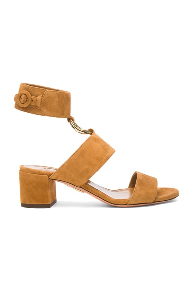 Aquazzura Suede Safari Sandals in Cognac
