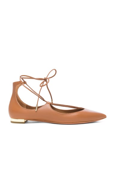 Aquazzura Leather Christy Flats in Whiskey