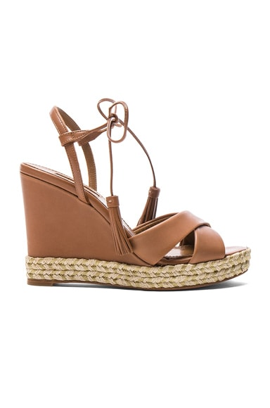 Aquazzura Leather Paraty Espadrille Wedges in Whiskey