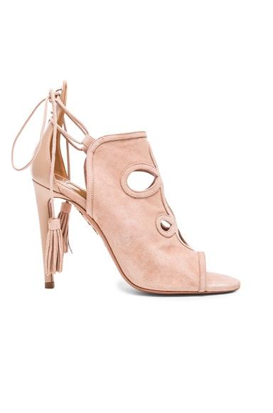 Aquazzura Get Me Everywhere Suede Heels in Vintage Pink
