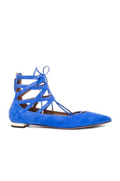 Aquazzura Belgravia Flats in Mondrian Blue