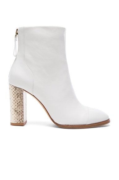 Alexandre Birman Leather Bibiana Watersnake Booties in White & Natural