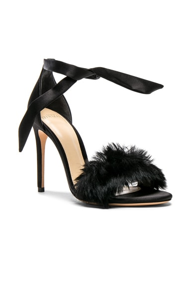 Satin Clarita Rabbit Fur Heels