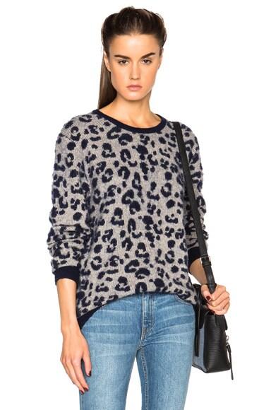 Acne Studios Jean Leopard Jacquard Sweater in Navy & Cream Beige