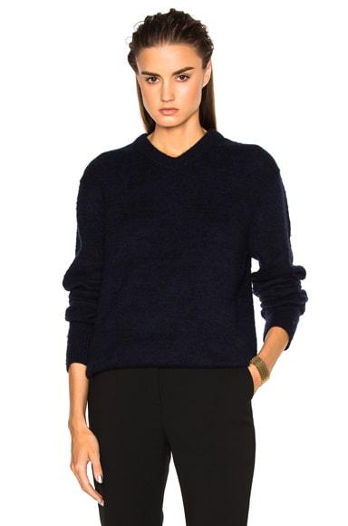 Acne Studios Jena V Neck Sweater in Black & Navy
