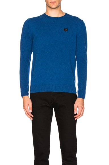 Acne Studios Dasher Face Sweater in Teal Blue