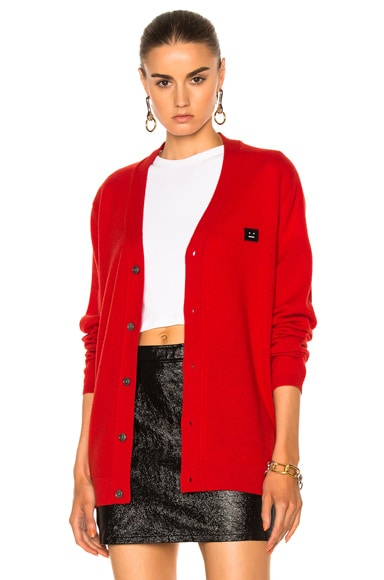 Acne Studios Dasher Face Cardigan in Vermillion Red