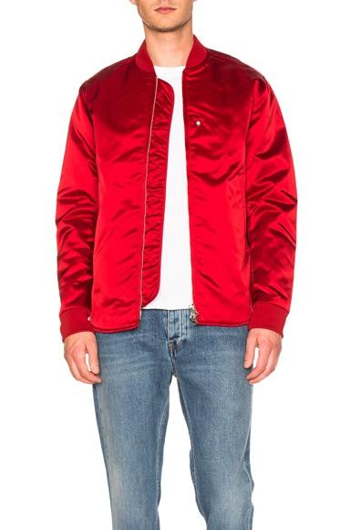Acne Studios Nylon Bomber Jacket in Red
