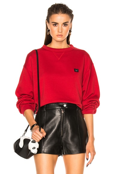 Acne Studios Fint Face Sweatshirt in Vermillion Red