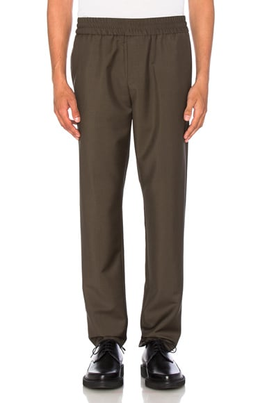 Acne Studios Ryder Cropped Trousers in Olive Green