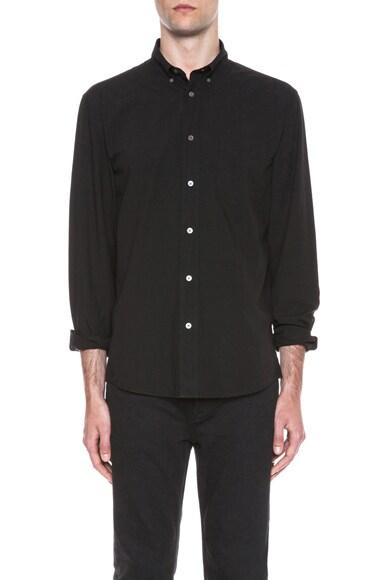 Acne Studios Isherwood Poplin Cotton Button Down in Black