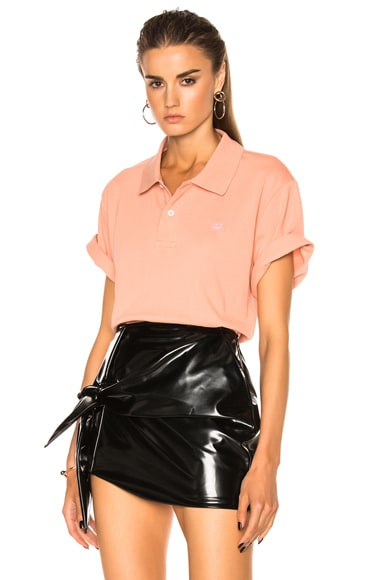 Acne Studios Falco Face Polo in Pale Pink