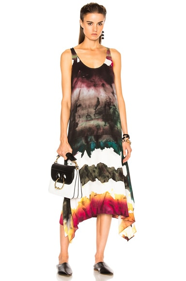 Acne Studios Saleh Dress in Water Dye Pink & Green