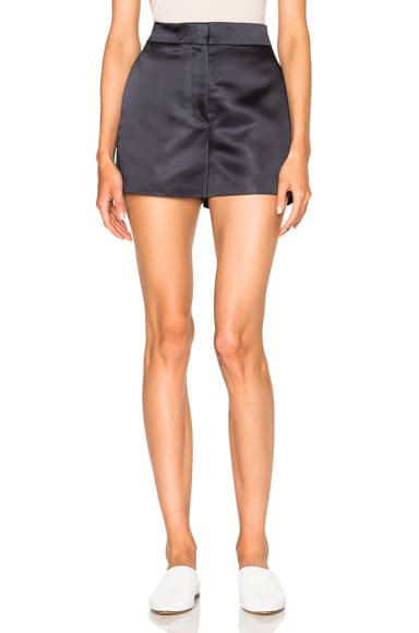 Acne Studios Callie Duchesse Satin Shorts in Dark Moss