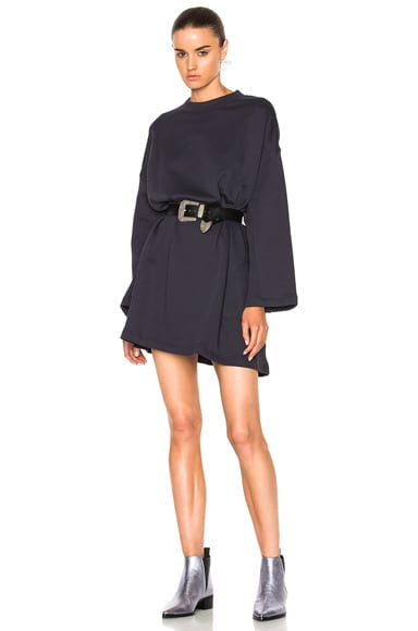 Acne Studios Leyla Fleece Sweater Dress in Dusty Navy