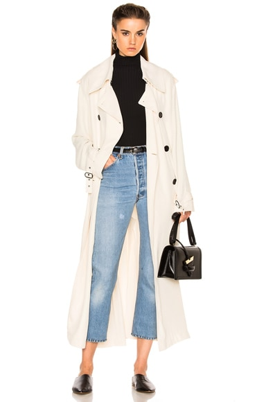 Acne Studios Lucie Trench Coat in Ivory White