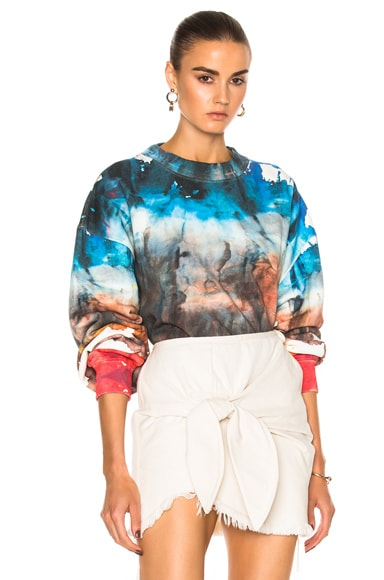 Acne Studios Yana Oil Sweatshirt in White Red Multi