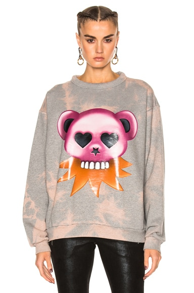 Acne Studios Fint Bear Sweater in Zinc Gray Melange Bleach