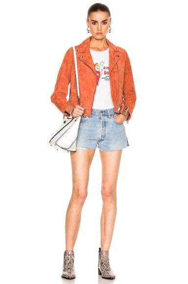 Mock Suede Leather Jacket