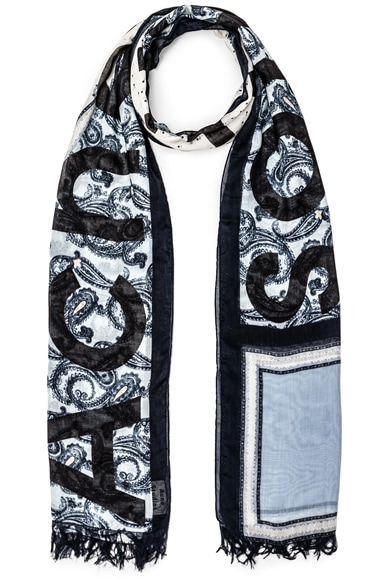 Acne Studios Marjon Diamond Scarf in Diamond Paisley Blue