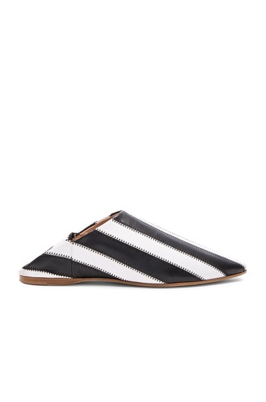 Acne Studios Leather Amina Patch Babouche Slippers in Black & White