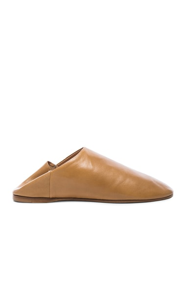 Acne Studios Leather Agata Babouche Slippers in Camel