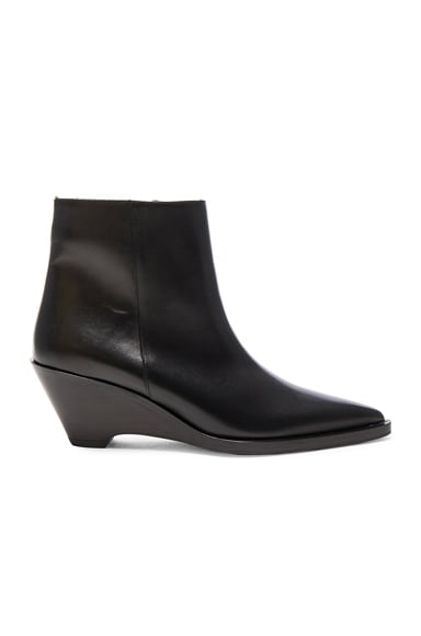 Acne Studios Leather Cony Booties in Black