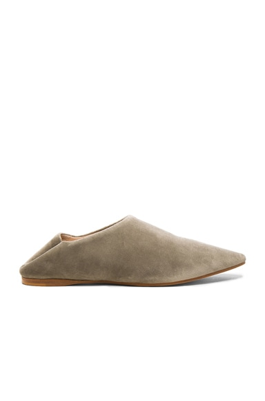 Acne Studios Amina Velvet Babouche Slipper in Stone Grey