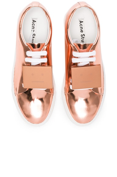 Acne Studios Adriana Metallic Leather Sneakers in Copper