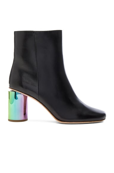 Acne Studios Leather Althea Booties in Black & Oily Yellow