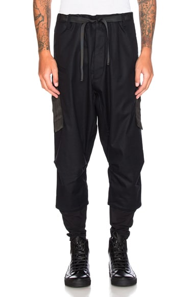 Acronym Industrial Micro Twill Drawcord Trousers in Black