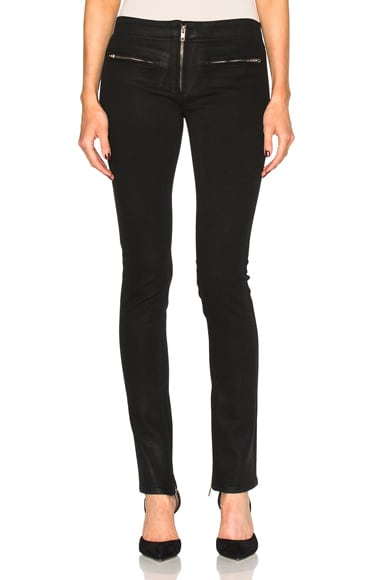 Adaptation Extra Long Zip Front Skinny in Black Wax