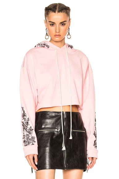 Adaptation x Chain Gang for FWRD Cropped Black Roses Hoodie in Pink