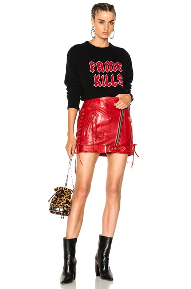 Classic Leather Moto Skirt