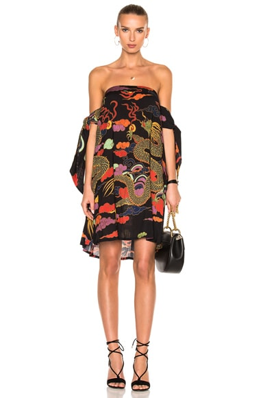 ADRIANA DEGREAS Dragoon Off The Shoulder Dress in Black