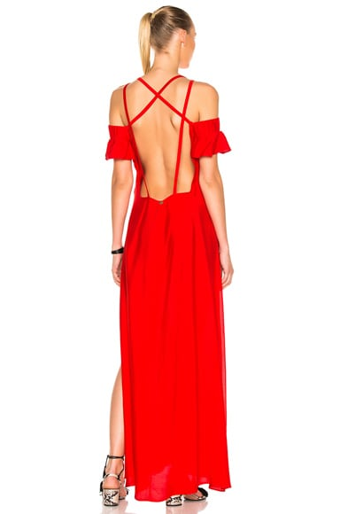 ADRIANA DEGREAS Solid Long Dress in Red