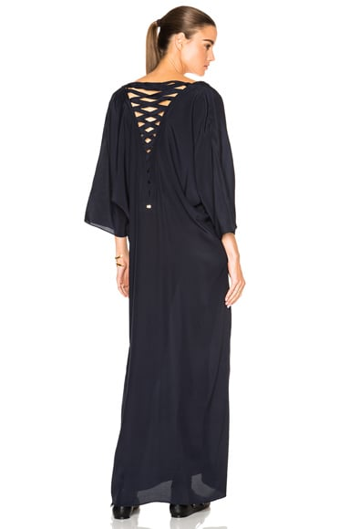 ADRIANA DEGREAS Lace Back Caftan in Blue Navy