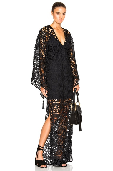 ADRIANA DEGREAS Guipure Lace Lined Caftan in Black