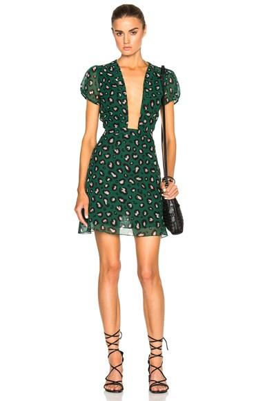 ADRIANA DEGREAS Leopard Tulle Mini Dress in Green