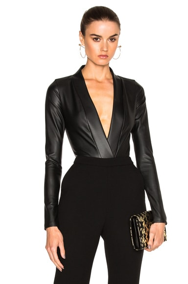 ADRIANA DEGREAS V Neck Bodysuit in Black