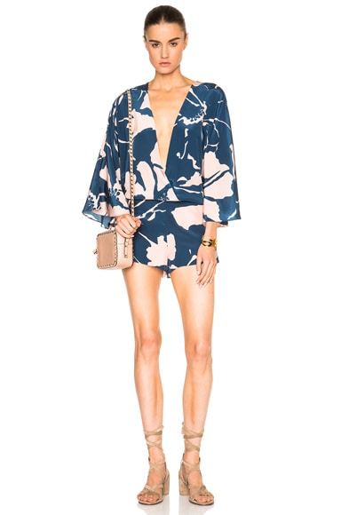 ADRIANA DEGREAS Crepe de Chine Playsuit in Blue Bali