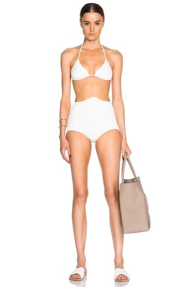 ADRIANA DEGREAS Neoprene Matelasse Hot Bikini in Off White