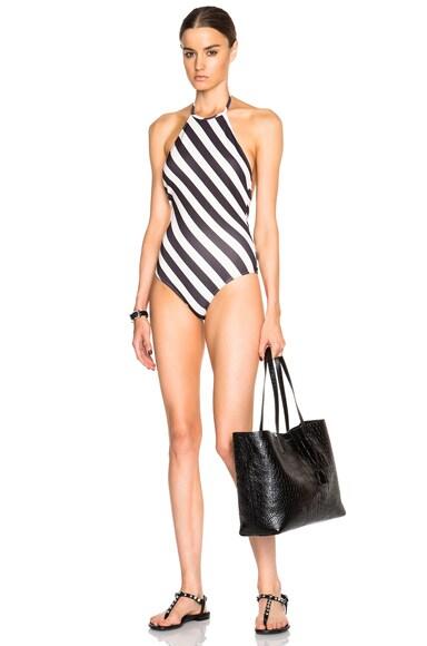 ADRIANA DEGREAS Neoprene Halterneck Swimsuit in Striped
