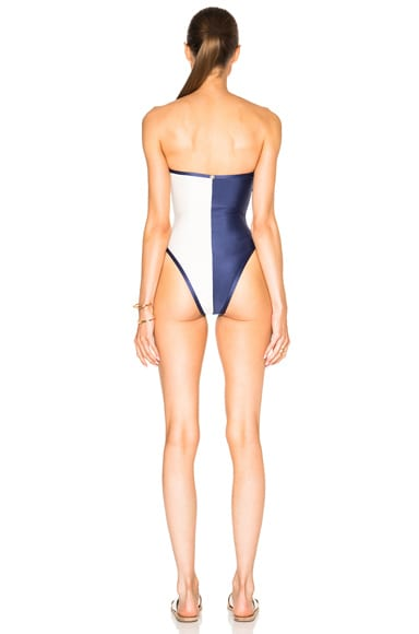 Two Color Strapless Suit