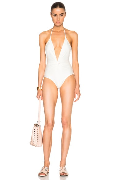 ADRIANA DEGREAS Halterneck Swimsuit in Off White