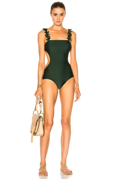 ADRIANA DEGREAS Ginkgo Leaves Cut Out Swimsuit in Bonsai Green