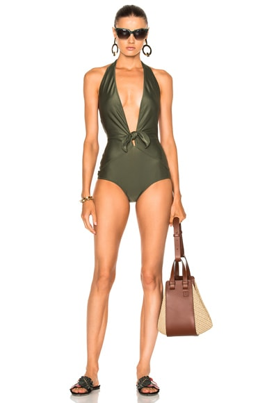 Sosanoo Solid Halter Swimsuit