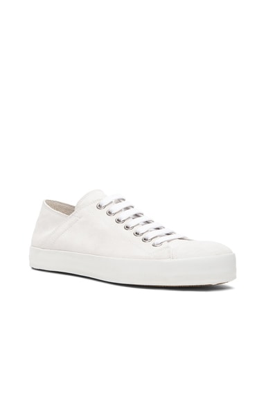 AD Ann Demeulemeester Suede Low Top Sneakers in White